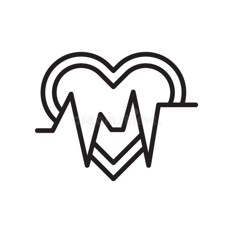 Muestra y símbolo del vector del icono del latido del corazón aislados en el fondo blanco, concepto del logotipo del latido del c stock de ilustración