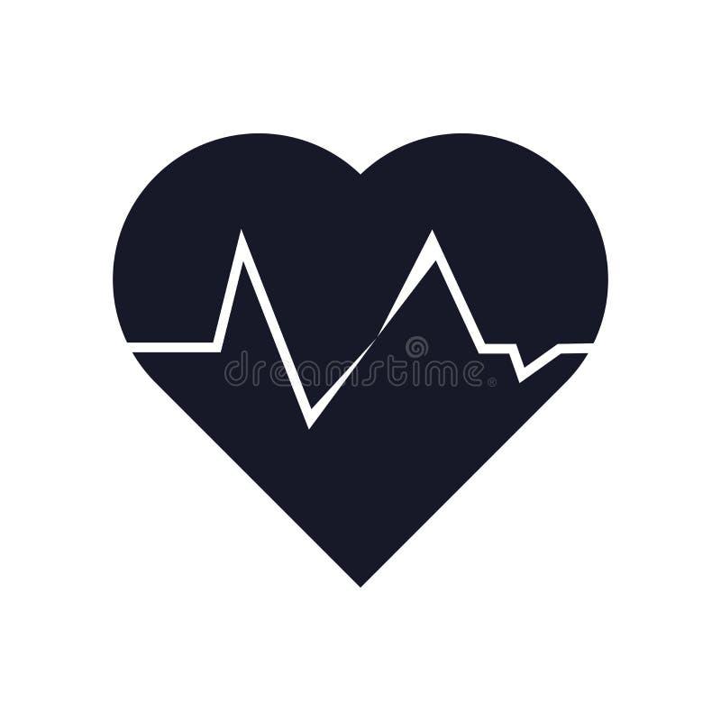 Muestra y símbolo del vector del icono del latido del corazón aislados en el fondo blanco, concepto del logotipo del latido del c ilustración del vector