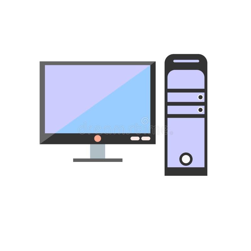 Muestra y símbolo del vector del icono del monitor de computadora aislados en b blanco libre illustration