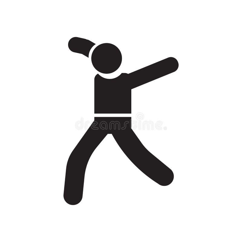 Muestra y símbolo del vector del icono del movimiento del bailarín aislados en el fondo blanco, concepto del logotipo del movimie ilustración del vector