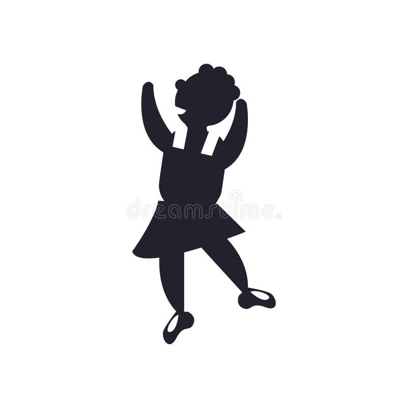 Muestra y símbolo del vector del icono del movimiento del bailarín aislados en la parte posterior del blanco ilustración del vector