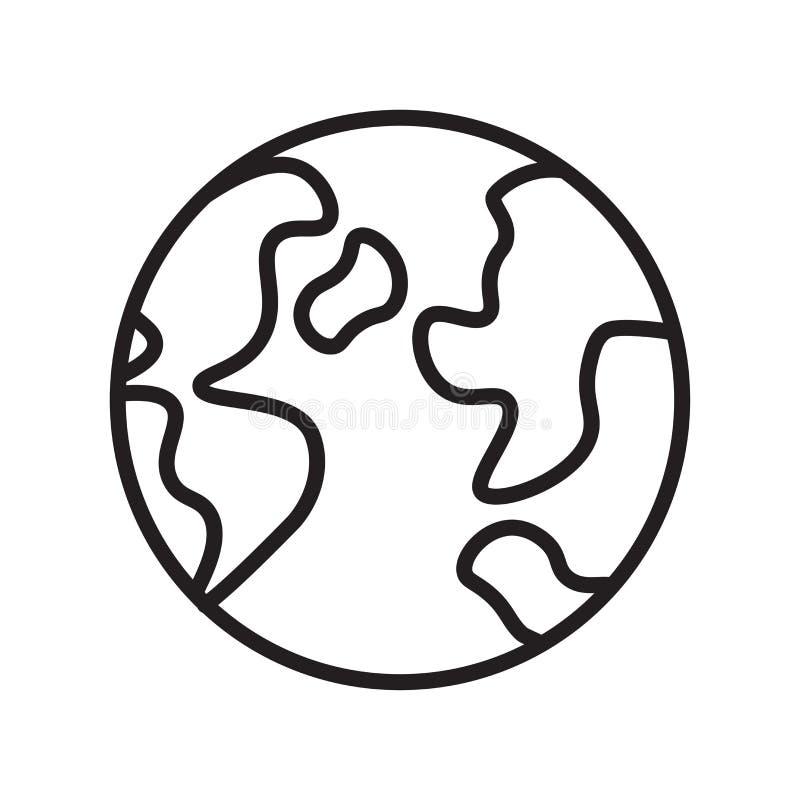 Muestra y símbolo del vector del icono del mundo aislados en el fondo blanco fotografía de archivo libre de regalías