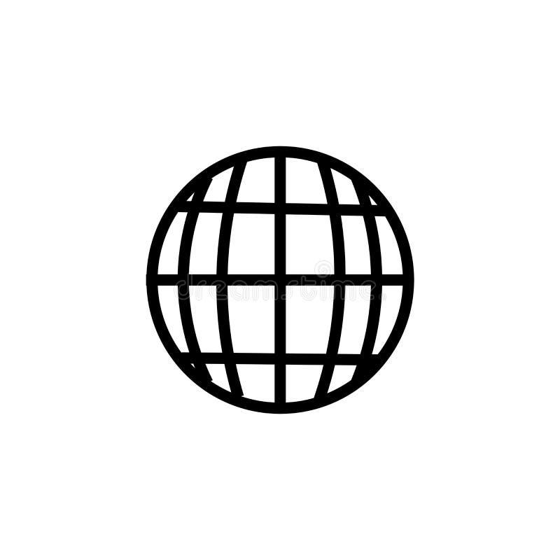 Muestra y símbolo del vector del icono del mundo de la rejilla aislados en el fondo blanco, concepto del logotipo del mundo de la ilustración del vector