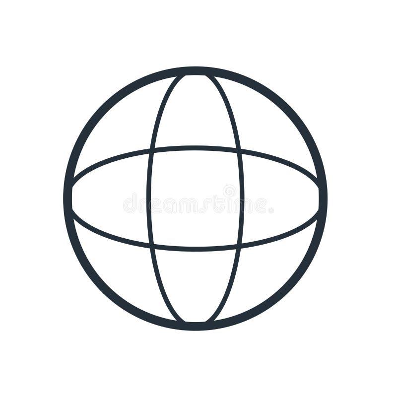 Muestra y símbolo del vector del icono del mundo de la rejilla aislados en el fondo blanco, concepto del logotipo del mundo de la stock de ilustración