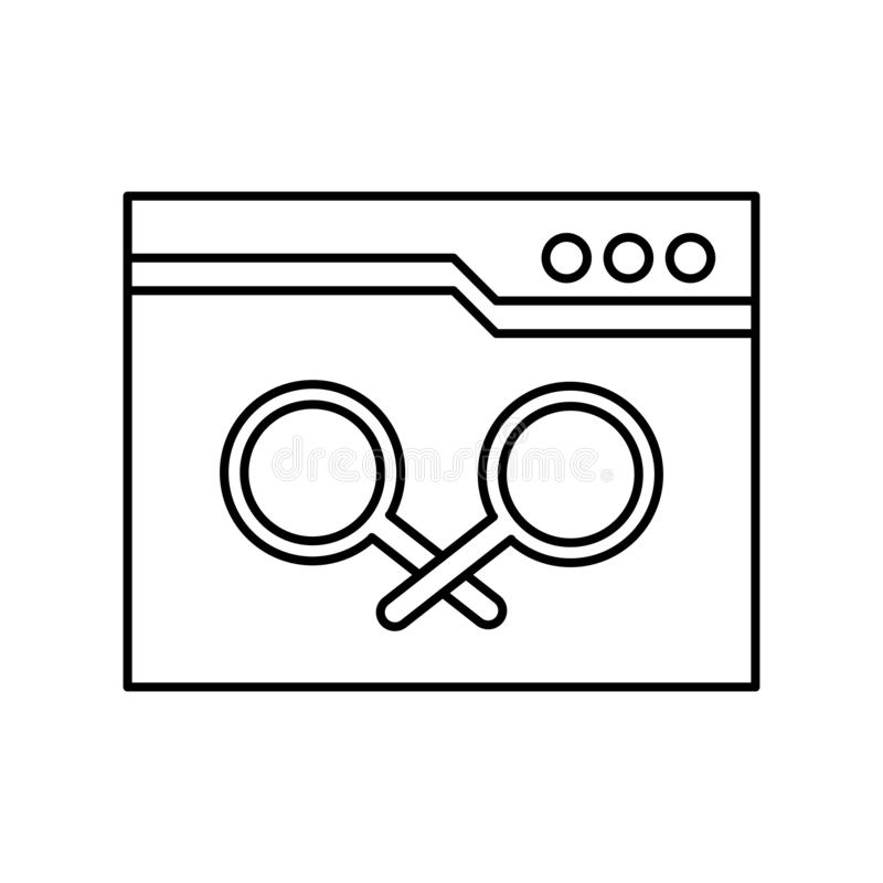 Muestra y símbolo del vector del icono del navegador aislados en el fondo blanco, concepto del logotipo del navegador stock de ilustración