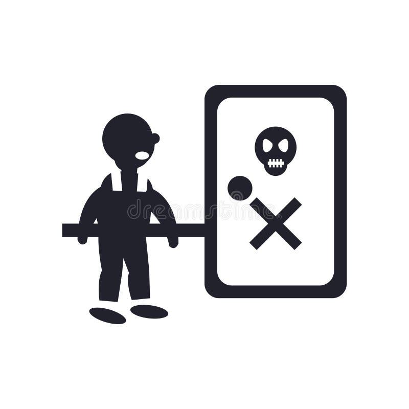 Muestra y símbolo del vector del icono del peligro de las ondas aislados en el backg blanco stock de ilustración