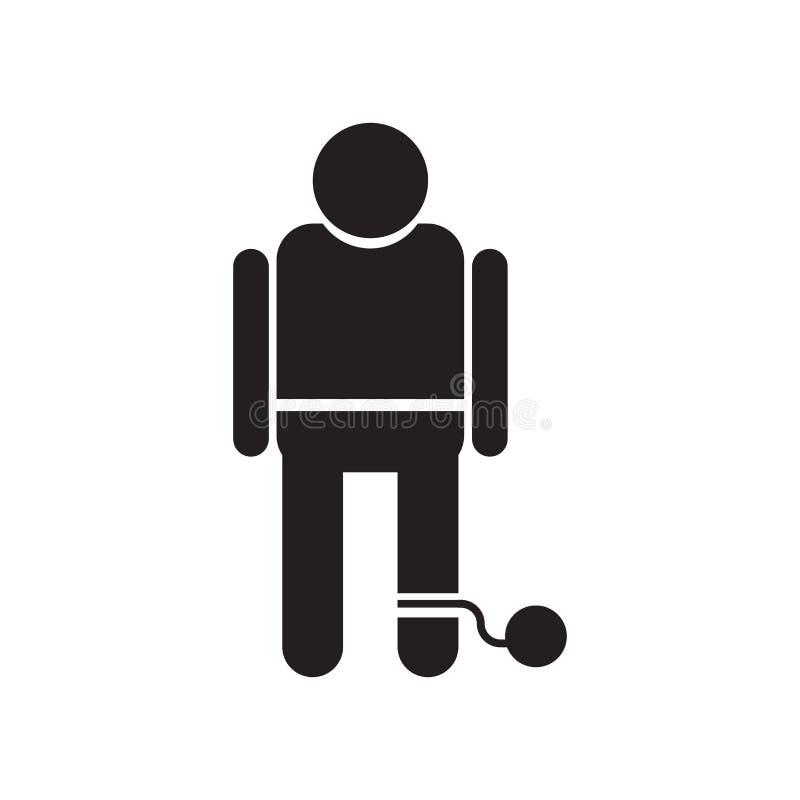 Muestra y símbolo del vector del icono del prisioner de la guerra aislados en el fondo blanco, concepto del logotipo del prisione libre illustration