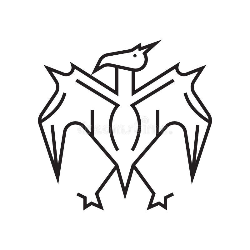 Muestra y símbolo del vector del icono del pterodáctilo aislados en el backgr blanco ilustración del vector