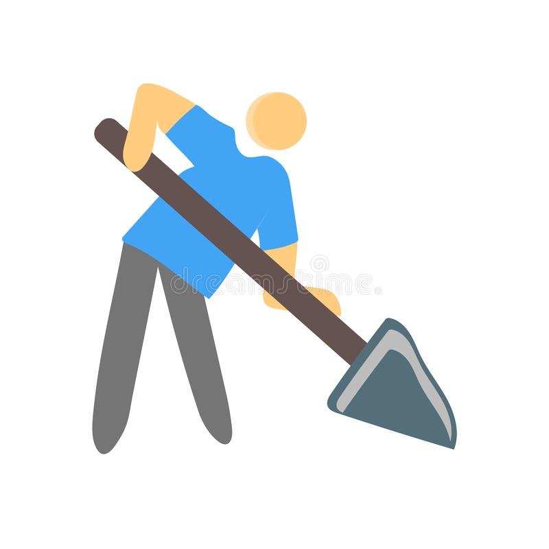 Muestra y símbolo del vector del icono del trabajador aislados en el fondo blanco, concepto del logotipo del trabajador libre illustration