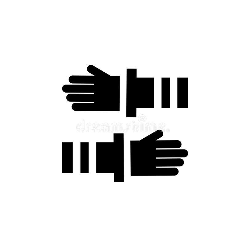 Muestra y símbolo del vector del icono del trabajo en equipo aislados en el fondo blanco, concepto del logotipo del trabajo en eq libre illustration