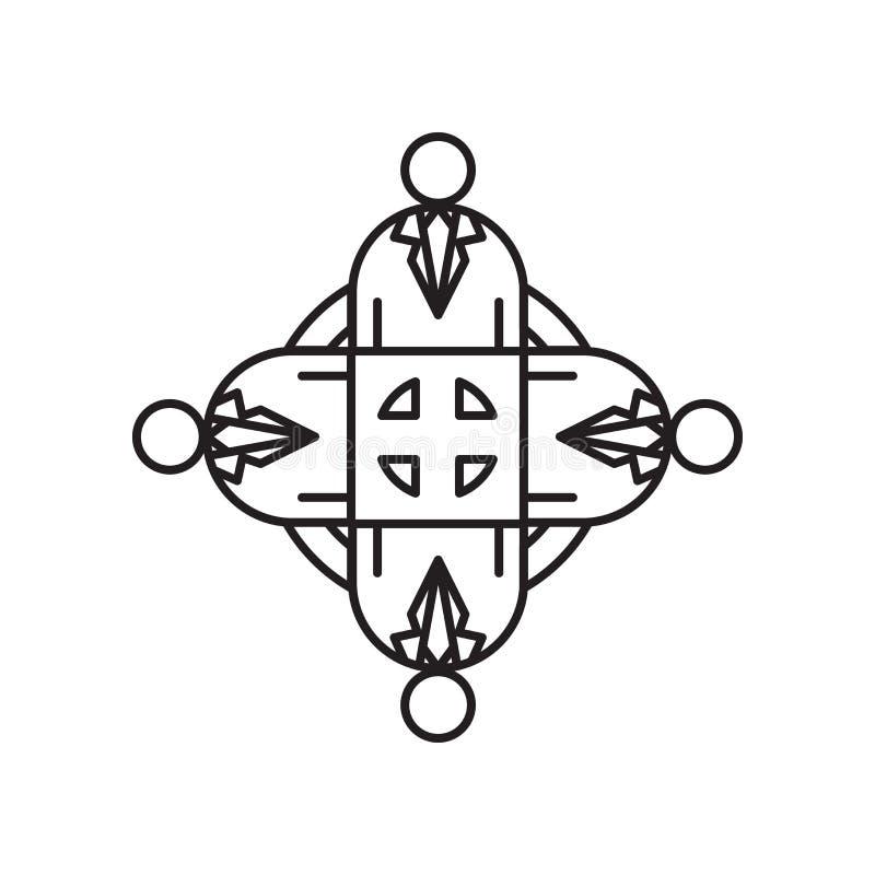 Muestra y símbolo del vector del icono del trabajo en equipo aislados en el fondo blanco, concepto del logotipo del trabajo en eq stock de ilustración