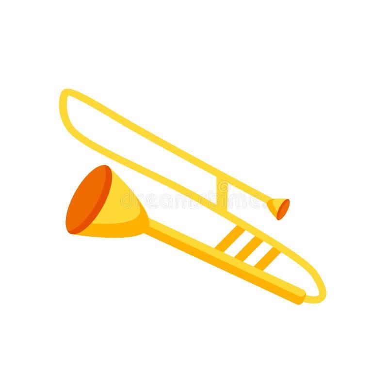 Muestra y símbolo del vector del icono del trombón aislados en el backgroun blanco libre illustration