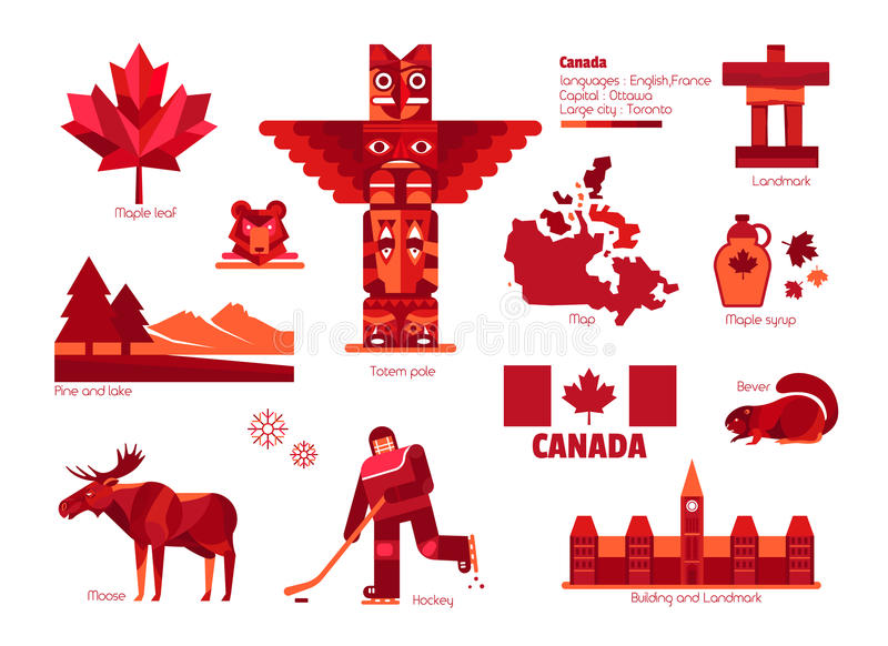Muestra y símbolo, elementos de Canadá del Información-gráfico fotografía de archivo libre de regalías