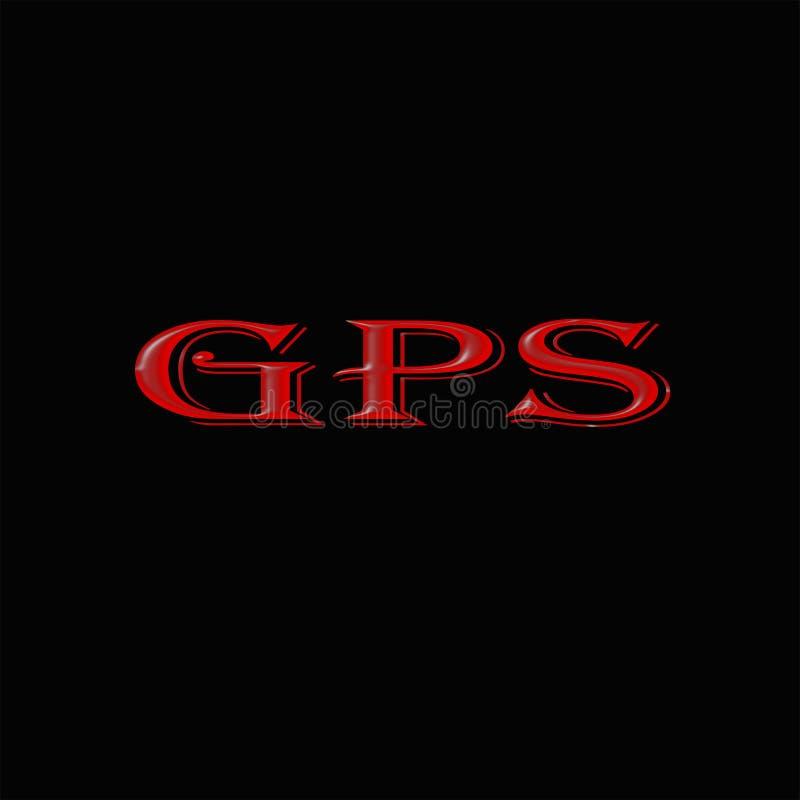 Muestra y símbolo GPS en fondo negro foto de archivo
