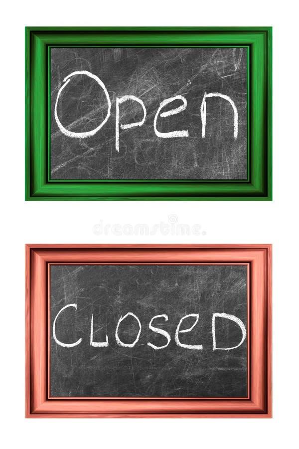 Muestras abiertas y cerradas imagenes de archivo