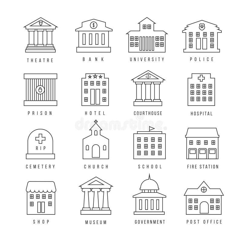 Muestras alineadas edificios del gobierno Parque de bomberos y tribunal, iconos del esquema de la sucursal urbana de la bibliotec stock de ilustración