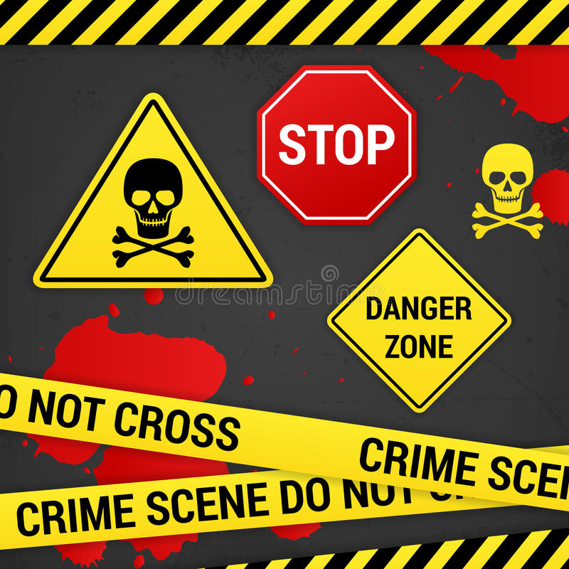 Muestras amonestadoras del crimen del peligro en fondo oxidado ilustración del vector
