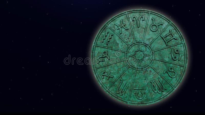 Muestras astrológicas del zodiaco dentro del círculo de mármol verde del horóscopo foto de archivo