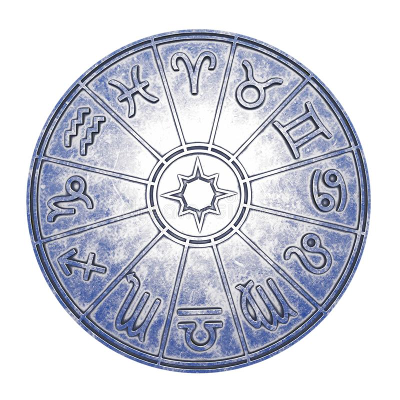 Muestras astrológicas del zodiaco dentro del círculo de plata del horóscopo foto de archivo