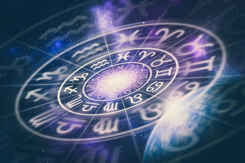 Muestras astrológicas del zodiaco dentro del círculo del horóscopo ilustración del vector