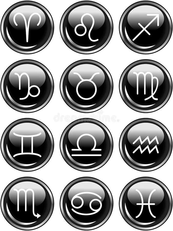 Muestras brillantes del horóscopo del zodiaco de los botones stock de ilustración