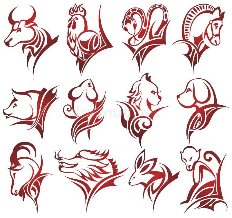 Muestras chinas del zodiaco ilustración del vector