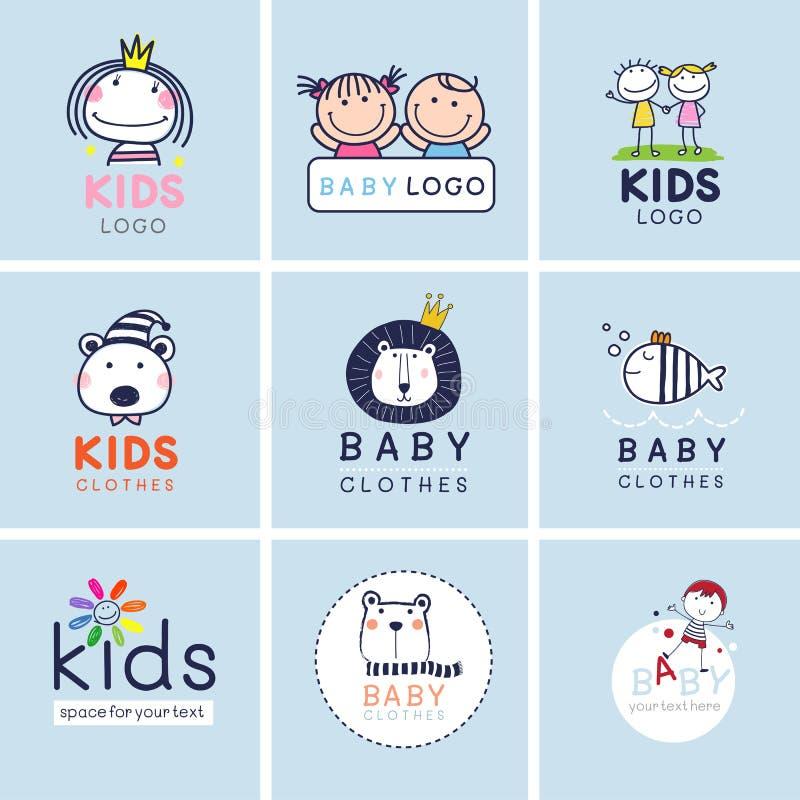 Muestras creativas, símbolos y sistema del logotipo, identidad de marca para el bebé, niños, y niño stock de ilustración