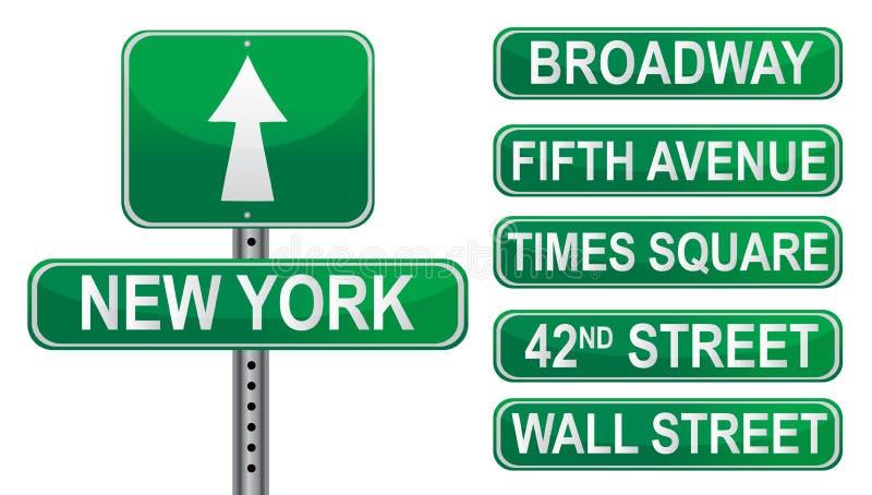 Muestras de calle de Nueva York stock de ilustración