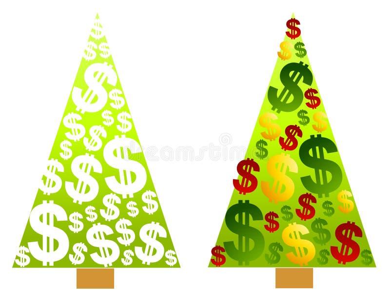 Muestras de dólar del dinero del árbol de navidad stock de ilustración
