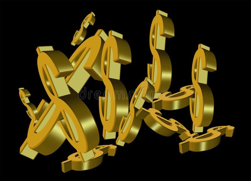 Muestras de dólar del oro stock de ilustración