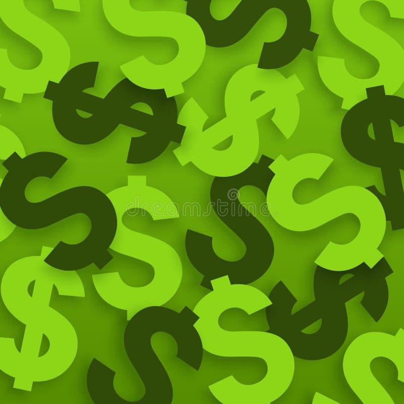 Muestras de dólar Símbolos de moneda de los E.E.U.U. en fondo verde Vector stock de ilustración