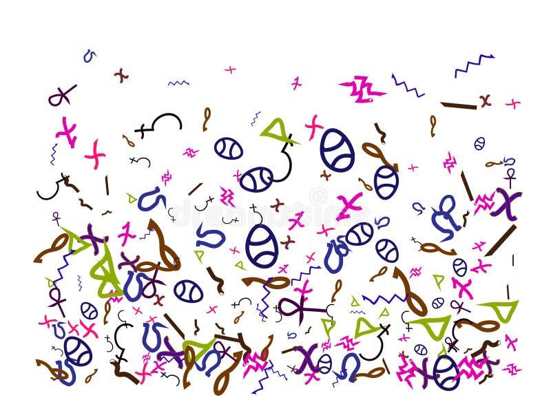 Muestras de Egipto, partículas dibujadas mano del confeti ilustración del vector
