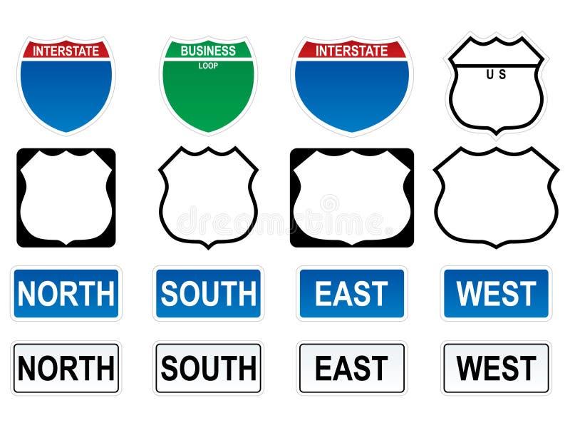 Muestras de la carretera de los E.E.U.U. stock de ilustración
