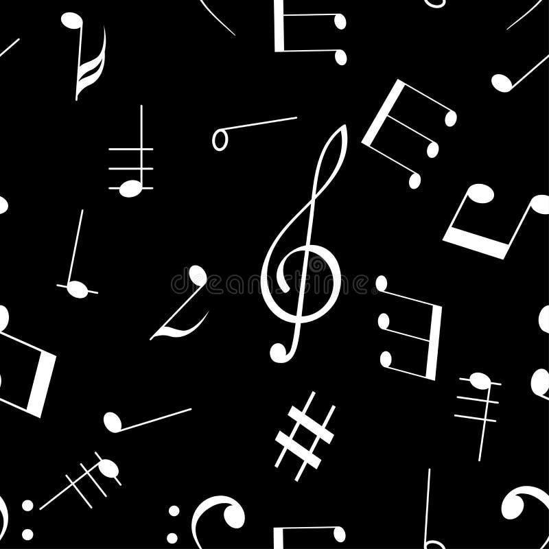 Muestras de la música Modelo inconsútil Notas y símbolos blancos en fondo negro stock de ilustración
