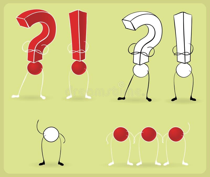 Muestras de la pregunta de la exclamación stock de ilustración