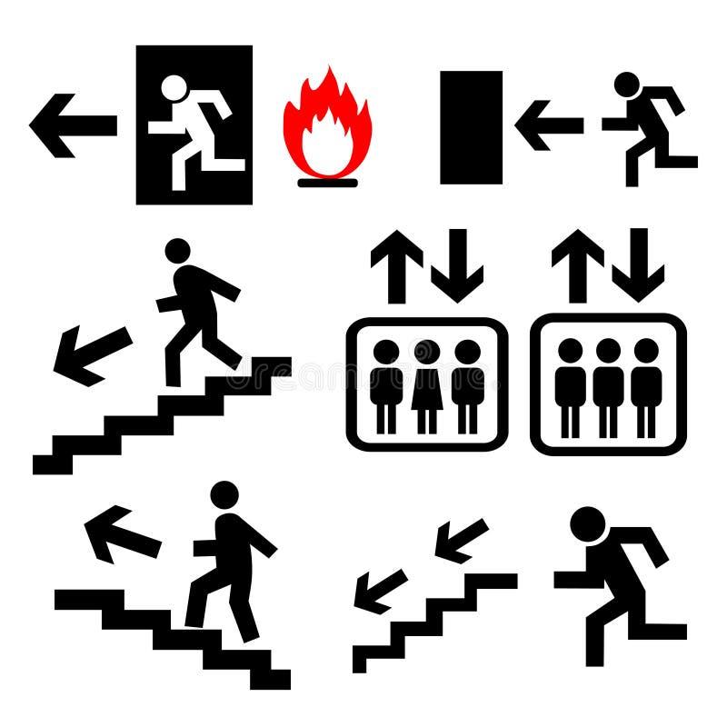Muestras de la salida de emergencia del vector fijadas stock de ilustración