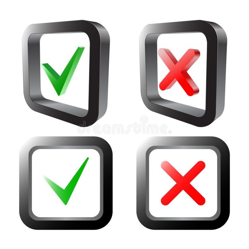 Muestras de la señal y de la cruz Marca de cotejo verde ACEPTABLE e iconos rojos de X, aislados en el fondo blanco Ilustración de stock de ilustración