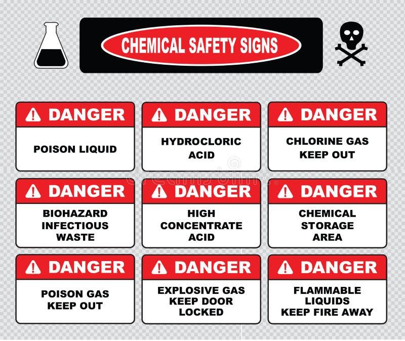 Muestras de la seguridad de los productos químicos stock de ilustración