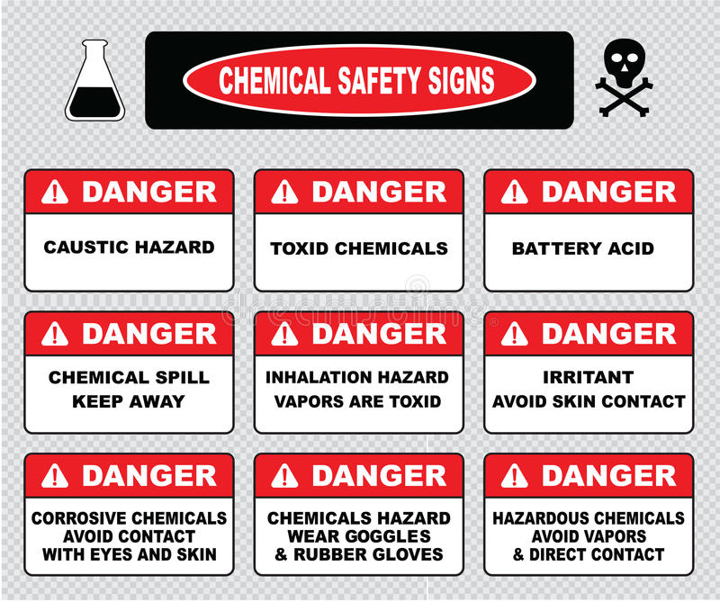 Muestras de la seguridad de los productos químicos, diversa muestra del peligro stock de ilustración