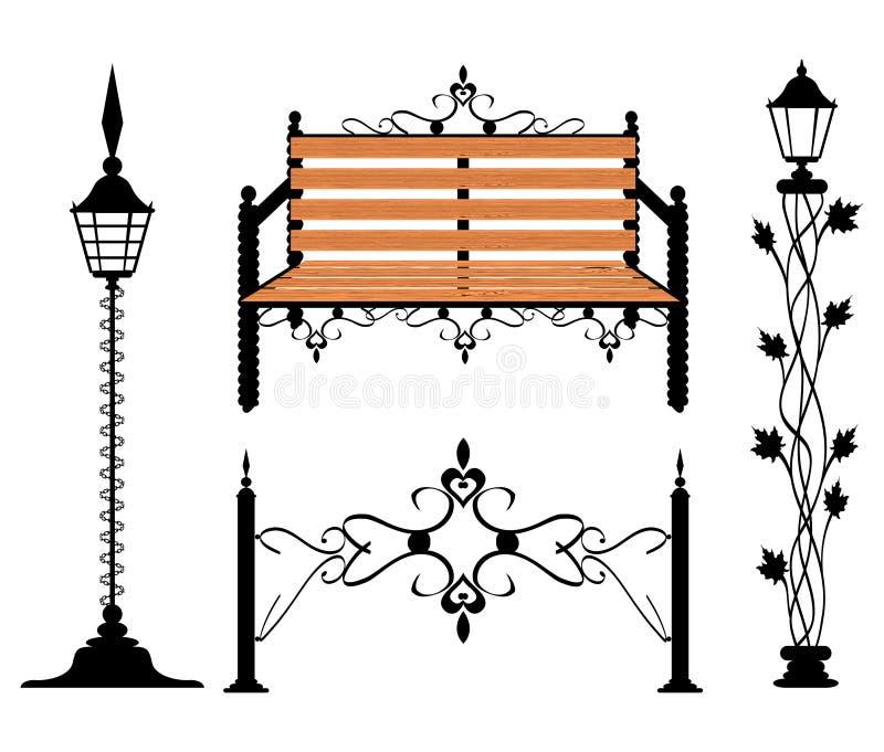 Muestras de la vendimia del hierro labrado y elementos de la decoración ilustración del vector
