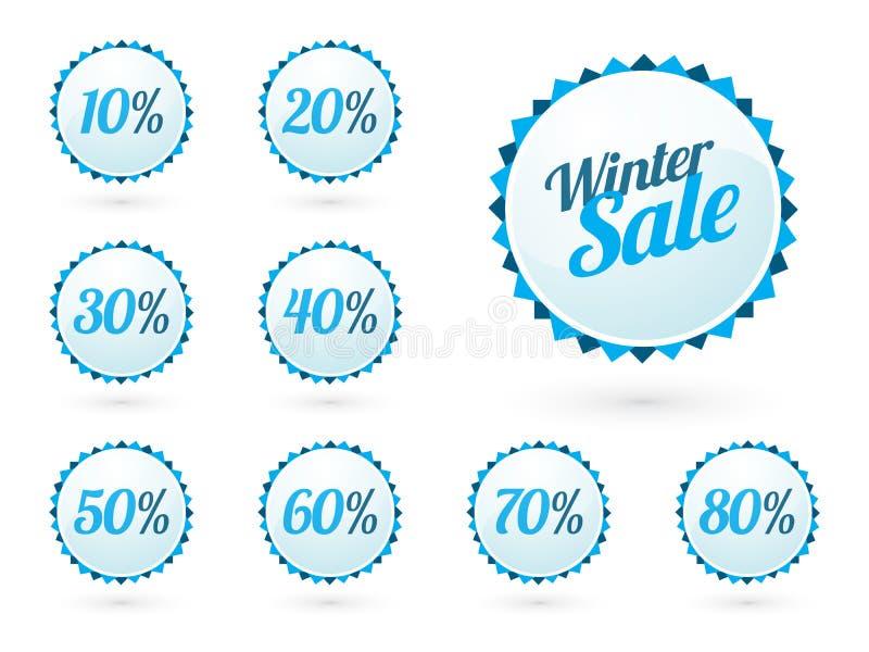 Muestras de la venta del invierno con porcentajes stock de ilustración