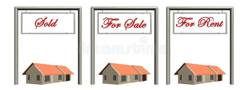 Muestras de las propiedades inmobiliarias con las casas. ilustración del vector