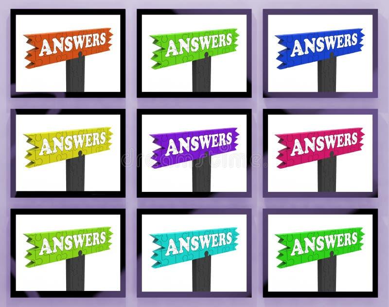Muestras de las respuestas en los monitores que muestran ayuda libre illustration