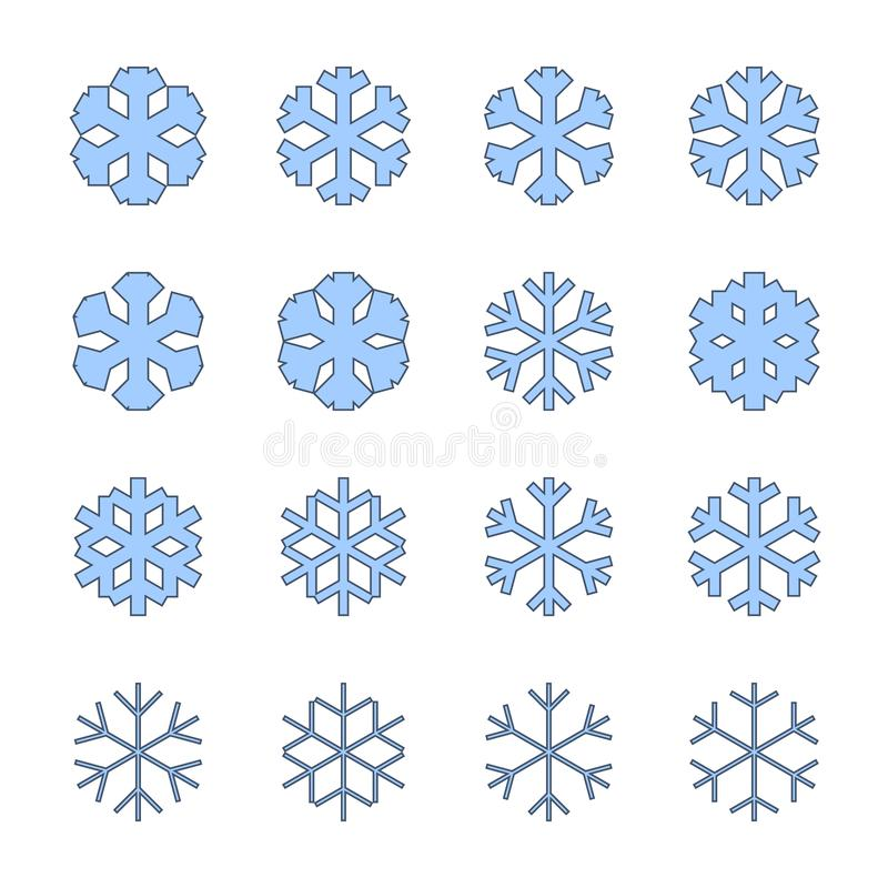 Muestras de los copos de nieve fijadas Iconos azules del copo de nieve aislados en el fondo blanco Siluetas de la escama de la ni libre illustration