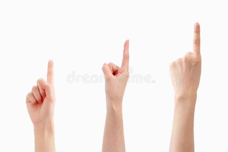 Muestras de los fingeres del número uno imagenes de archivo