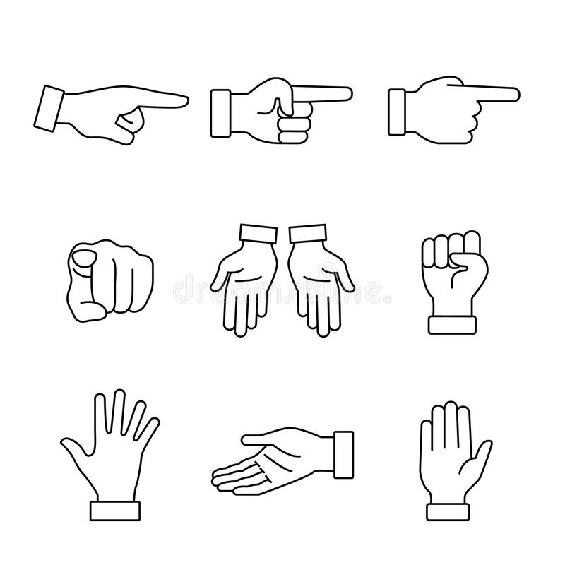 Muestras de los gestos de mano fijadas stock de ilustración