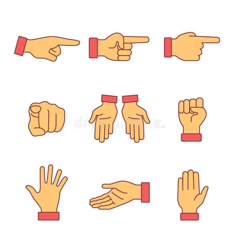 Muestras de los gestos de mano fijadas Línea fina iconos del arte stock de ilustración