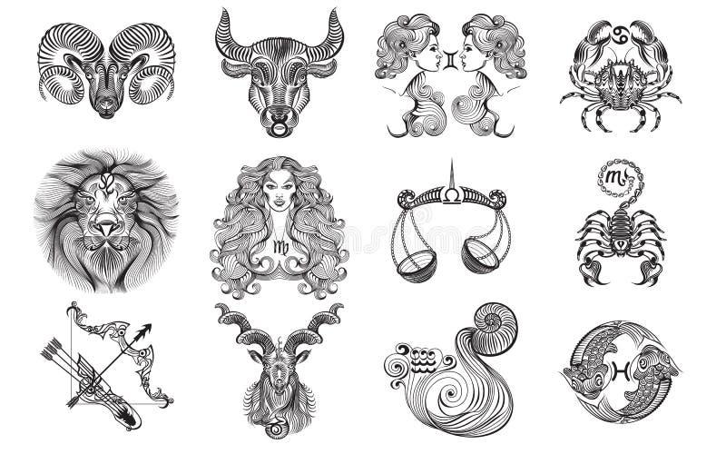12 muestras de los tatuajes del zodiaco ilustración del vector