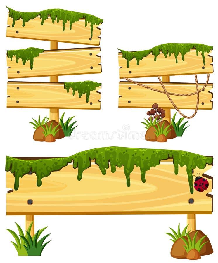 Muestras de madera con el musgo y la hierba stock de ilustración