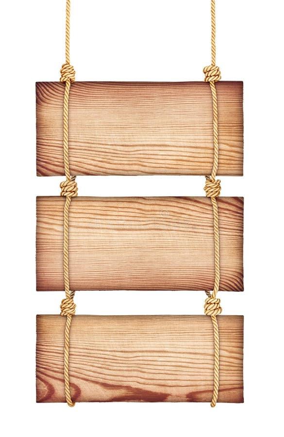 Muestras de madera del vintage en la cuerda stock de ilustración